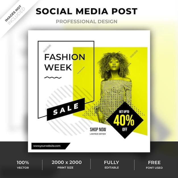 ファッションソーシャルメディアのポストデザイン Premium Psd