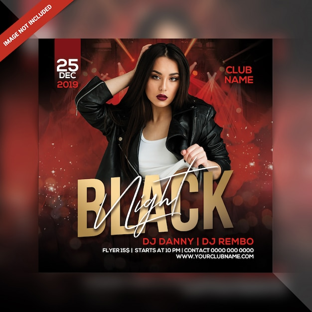 Флаер черной вечеринки Premium Psd