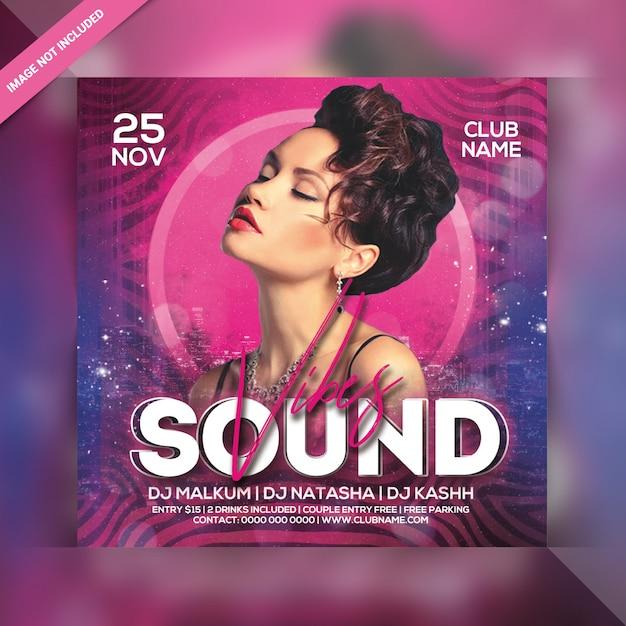 Звук флюидов вечеринка квадратный флаер Premium Psd