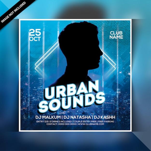 Городские звуки вечеринки флаера Premium Psd