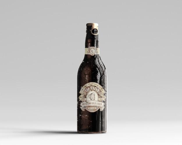 Янтарный стеклянный макет пивной бутылки с каплями воды - вид спереди Premium Psd