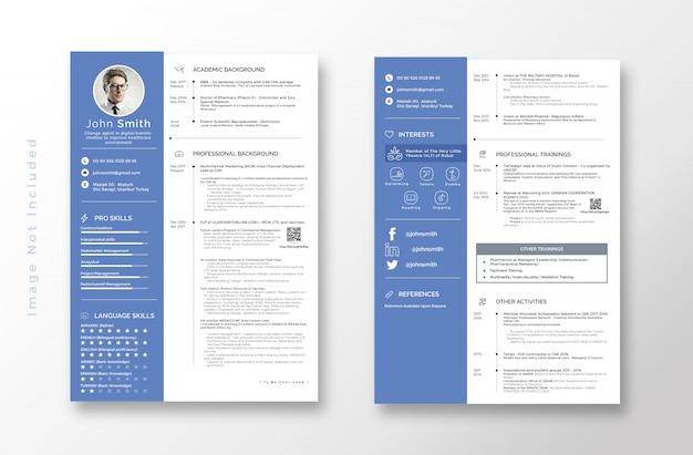 クリーン履歴書履歴書テンプレート Premium Psd