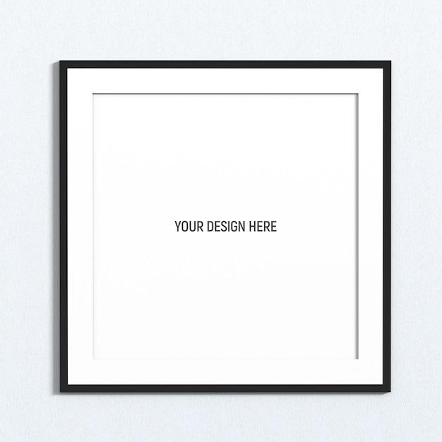 白いテクスチャ壁にスクエアブラックフレームモックアップ Premium Psd