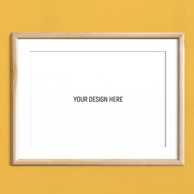 黄色の織り目加工の壁に水平ライトウッドフレームモックアップ Premium Psd