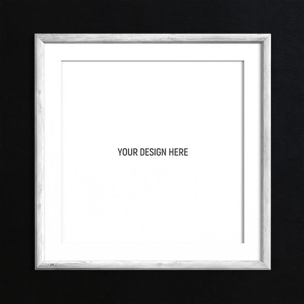 黒の織り目加工の壁に正方形の白い塗られた木製フレームモックアップ Premium Psd