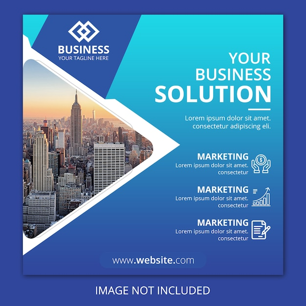 Бизнес агентство квадратный флаер Premium Psd