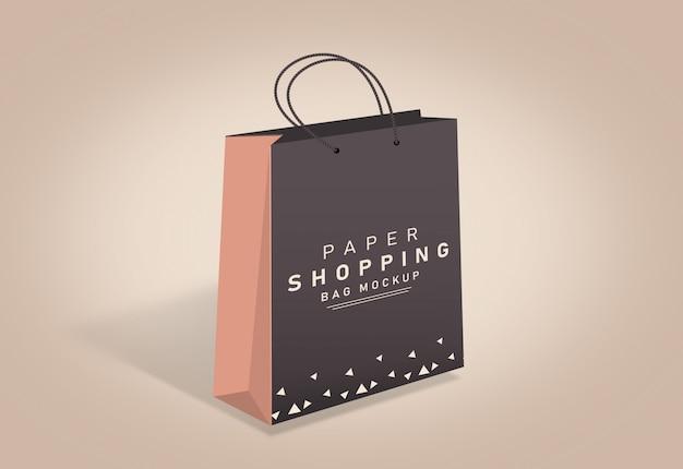 買い物袋モックアップ紙袋モックアップ茶色の買い物袋 Premium Psd