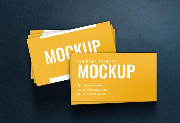 Визитная карточка макет черной бумаги текстуры Premium Psd