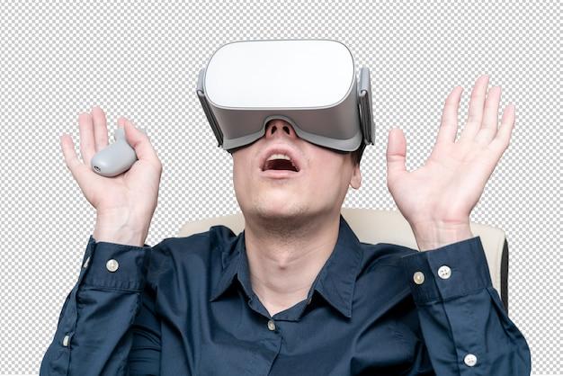 Молодой человек в очках виртуальной реальности. инновации и технологические достижения. современные технологии для бизнеса. Premium Psd