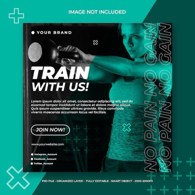 Фитнес и тренажерный зал социальные медиа или квадратный баннер шаблон Premium Psd