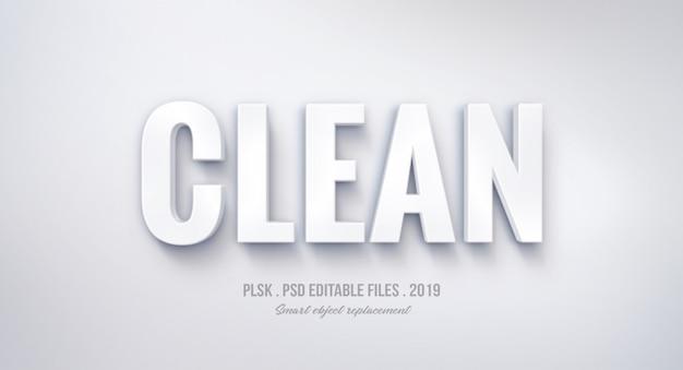 Чистый трехмерный текстовый эффект Premium Psd