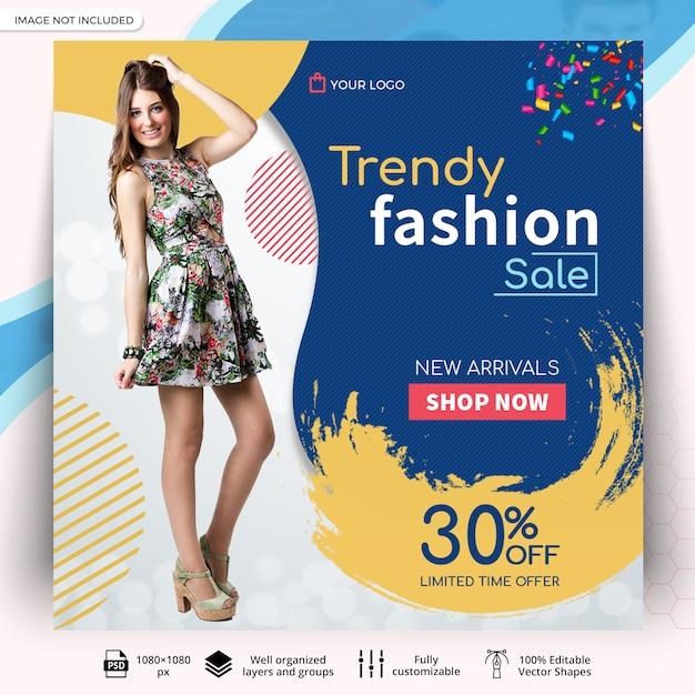 Шаблон сообщения о продаже моды в социальных сетях Premium Psd