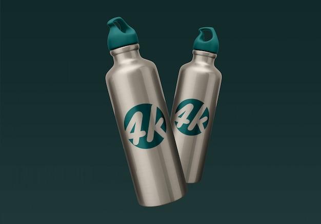 Алюминиевая бутылка воды макет Premium Psd