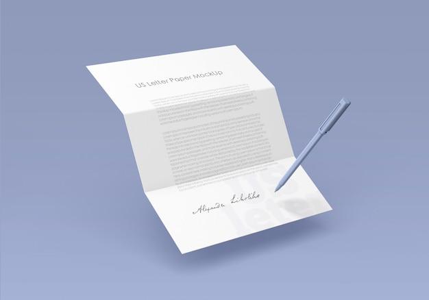 Макет бумаги для писем сша Premium Psd