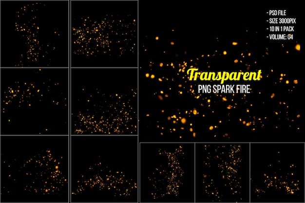 Горящие красные горячие искры летят от большого огня Premium Psd