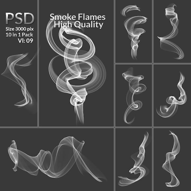 煙コレクション分離の透明な背景 Premium Psd