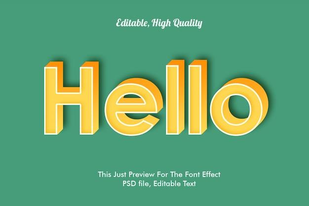Привет макет эффекта шрифта Premium Psd