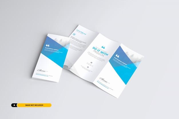 三つ折りパンフレットモックアップ Premium Psd