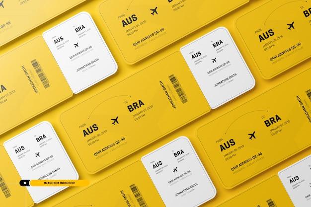 飛行機のチケットのモックアップ Premium Psd