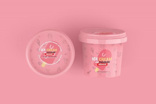 アイスクリームジャー包装モックアップ Premium Psd