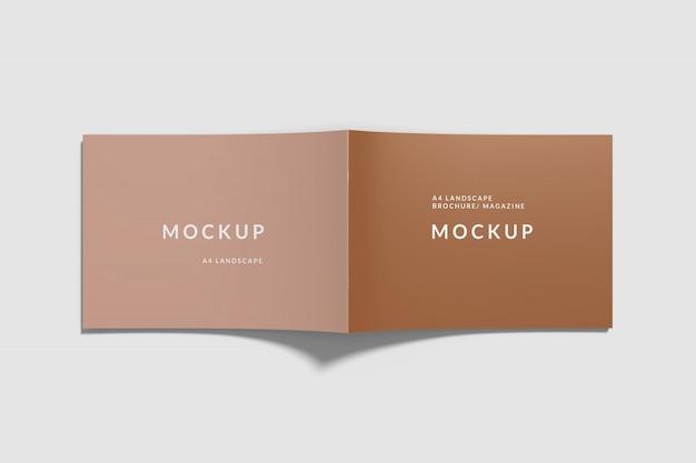 Обложка пейзаж книга макет сверху Premium Psd