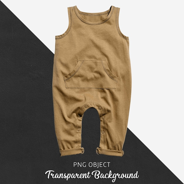 透明な茶色の赤ん坊のジャンプスーツかボディスーツ Premium Psd