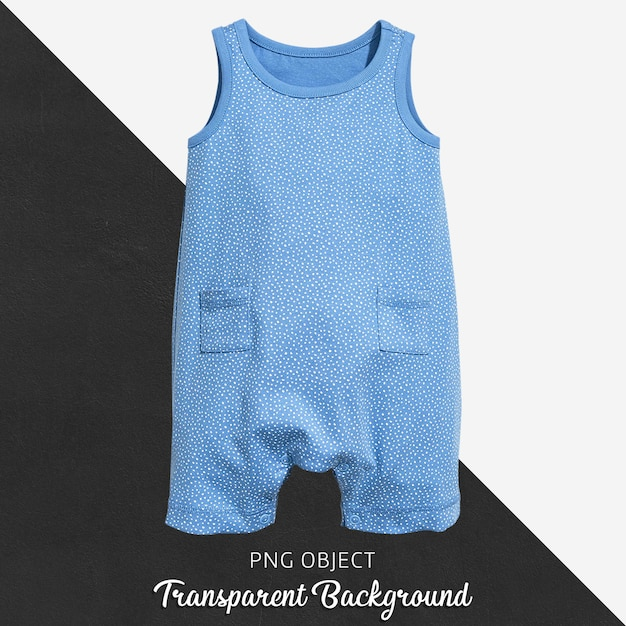 透明な水色の赤ん坊のジャンプスーツかボディスーツの白い水玉模様 Premium Psd