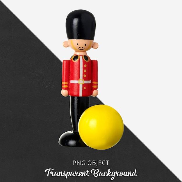 透明な木製の鉛の兵士と黄色のボールのおもちゃ Premium Psd