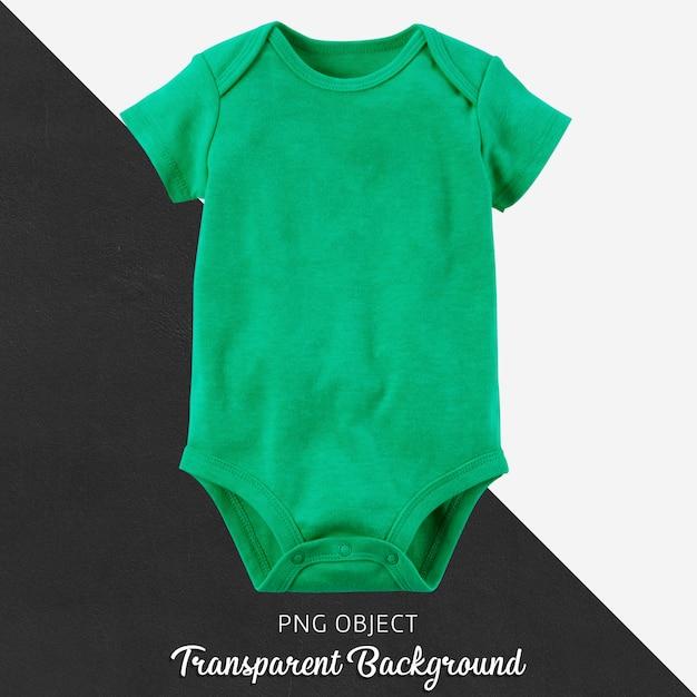 透明な背景に赤ちゃんのための緑のボディースーツ Premium Psd