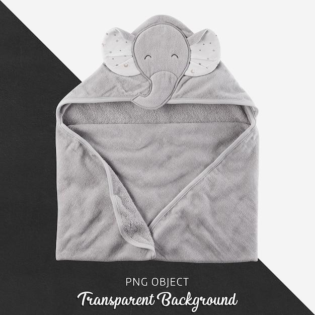 灰色の赤ちゃんや子供用のタオル、透明な背景にバスローブ Premium Psd