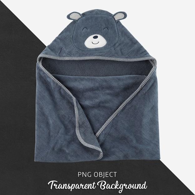 ネイビーブルーのベビーまたは子供用タオル、バスローブ、透明の背景 Premium Psd
