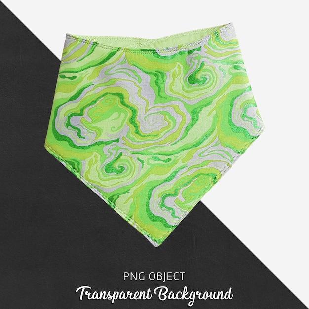 赤ちゃんや子供の透明な背景に緑色の柄のバンダナ Premium Psd
