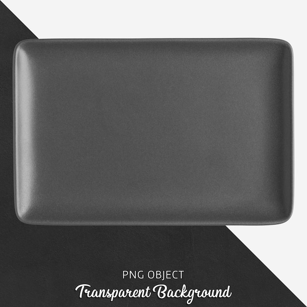 Черная керамическая прямоугольная пластина на прозрачном фоне Premium Psd