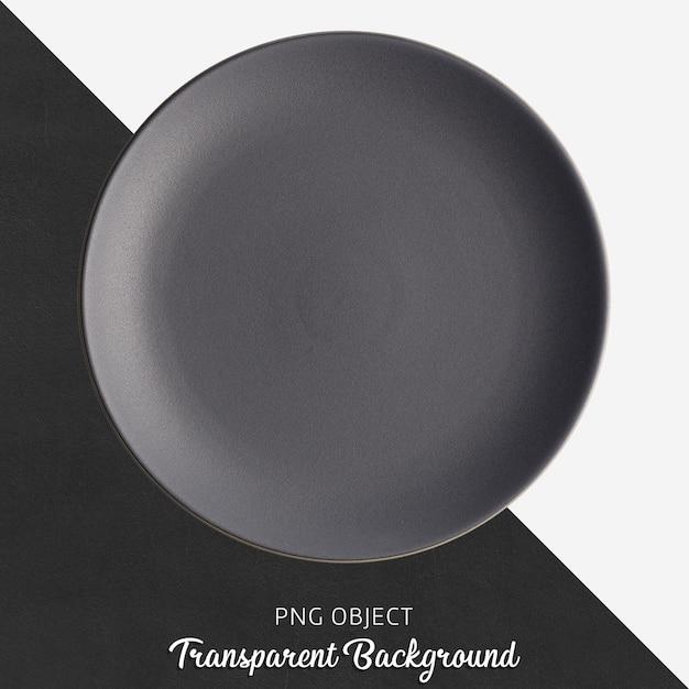 Темно-серая круглая керамическая тарелка на прозрачном фоне Premium Psd