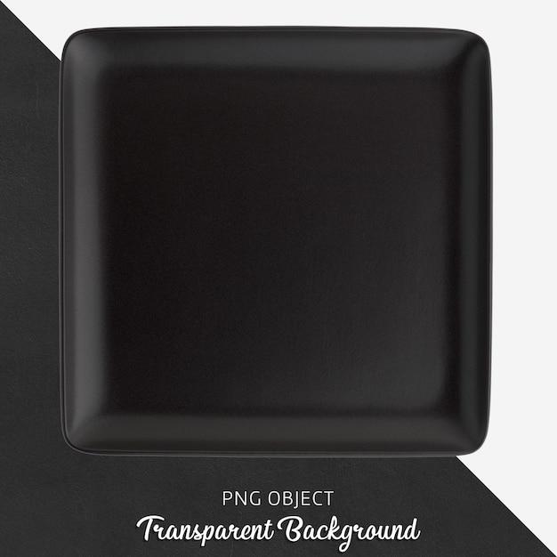 Прозрачная черная керамическая или фарфоровая квадратная тарелка Premium Psd