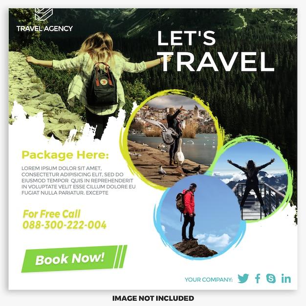 Шаблон сообщения для туры и путешествий в социальных сетях Premium Psd