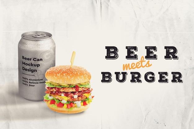 ハンバーガーとビールのモックアップ 無料 Psd