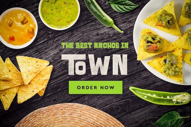 メキシコ料理レストランのモックアップ 無料 Psd