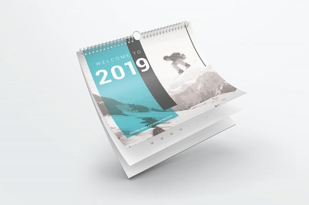 フライングスクエアウォールカレンダーモックアップ Premium Psd