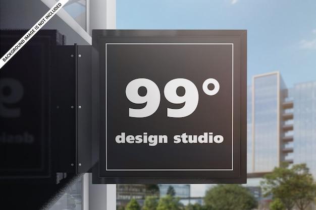 Подвесная стена квадратный знак макет Premium Psd