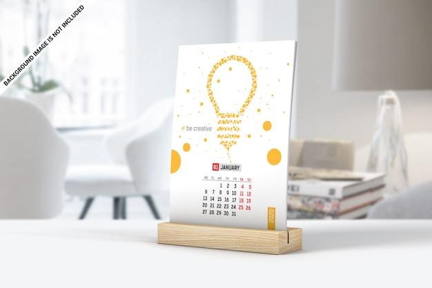 シンプルな卓上カレンダーのモックアップ Premium Psd