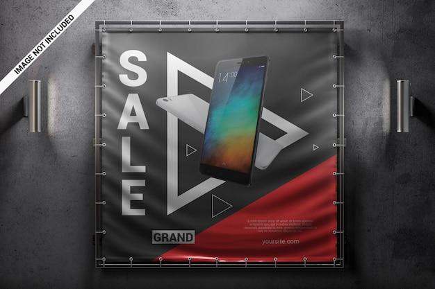 正方形の広告壁バナーモックアップ Premium Psd