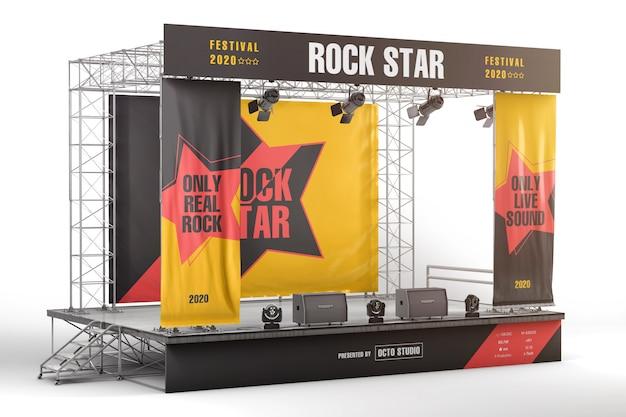 ステージ広告ボードとバナーのモックアップ Premium Psd