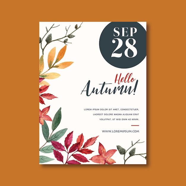 Осенний тематический плакат с яркими листьями шаблон Бесплатные Psd