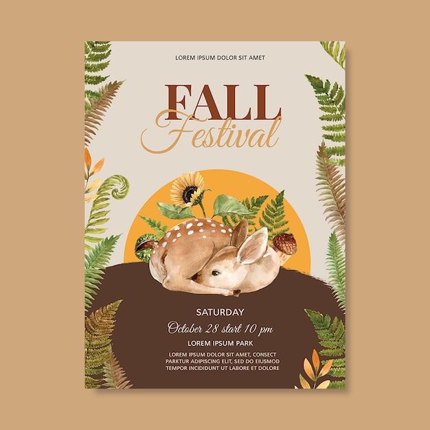 鮮やかな葉テンプレートと秋のテーマポスター 無料 Psd