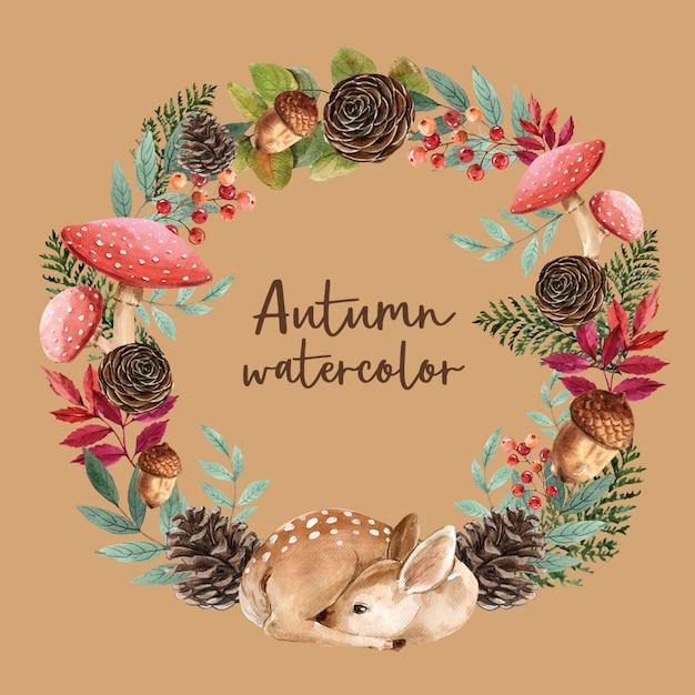 秋のテーマカードと花輪 無料 Psd