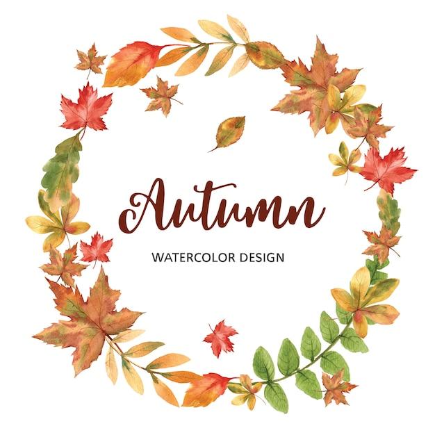 秋のテーマテンプレートと花輪 無料 Psd