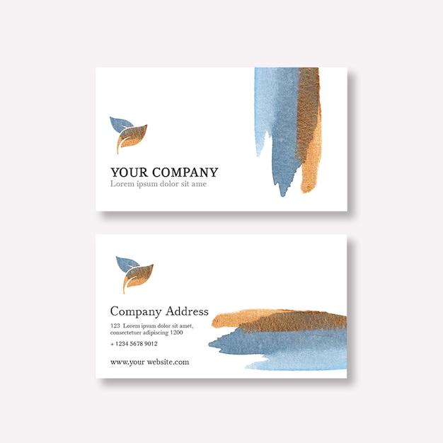 Шаблон визитной карточки с акварельными мазками Бесплатные Psd
