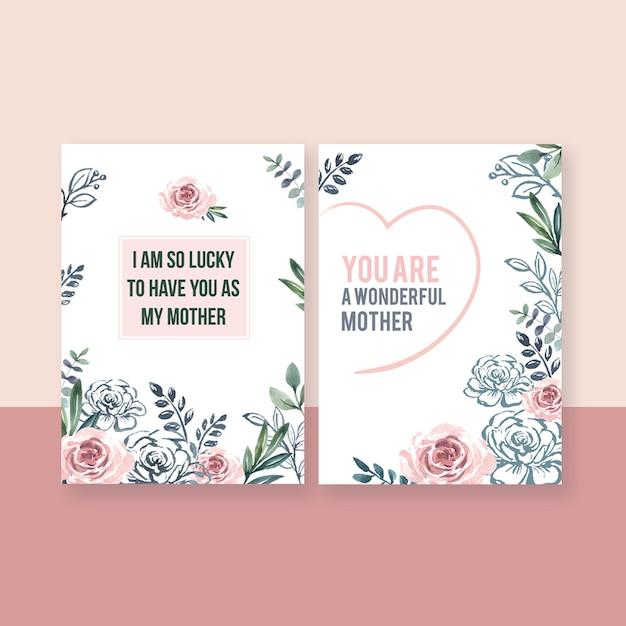 母の日特別活動カード優雅な甘い花 無料 Psd