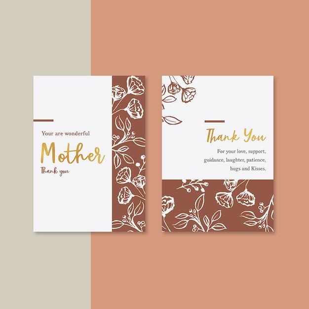 対照的な色の花を持つ母の日カード 無料 Psd